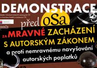 Demonstrace před sídlem OSA za mravné zacházení s autorským zákonem