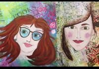 Naivní autoportrét akrylovými barvami
