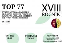 Vyhlášení a degustace oceněných vín 18. ročníku TOP 77