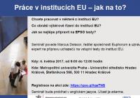 Práce v institucích EU – jak na to?