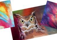 Zvířecí motivy s kombinací akrylu a pastelu