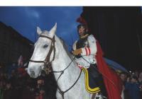 Martin na bílém koni pod Bílou věží v Hradci Králové