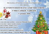 Rozsvícení vánočního stromu s Mikulášem - Karolinka