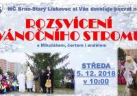 Rozsvícení vánočního stromu s Mikulášem - Brno Starý Lískovec