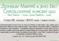 """Koncert """"Bohuslav Martinů a jeho žáci"""""""
