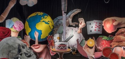 Koláž ze 60 rozřezaných billboardů. Epos 257 vede válku s mocnými i marnivostí v rámci výstavy Vanitas v DOXu
