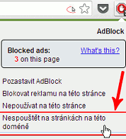 Jak vypnout Adblock