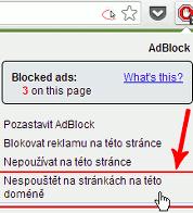 Jak vypnout Adblock